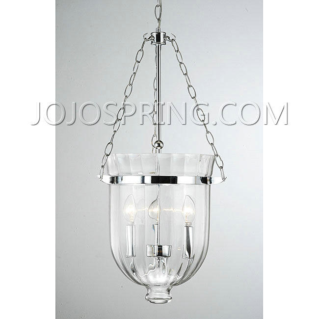Chrome Finish Ribbed Glass Lantern Chandelier - KPH-1C