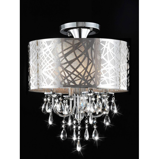 Chrome and Crystal 4-light Flushmount Chandelier - B849-JB-397