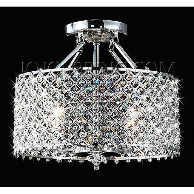 Chrome/ Crystal 4-light Round Ceiling Chandelier - BXC-70EL