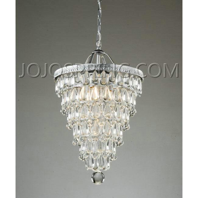 Cone Shape 4 Light Matte Silver Crystal Chandelier L559 Cfc 24
