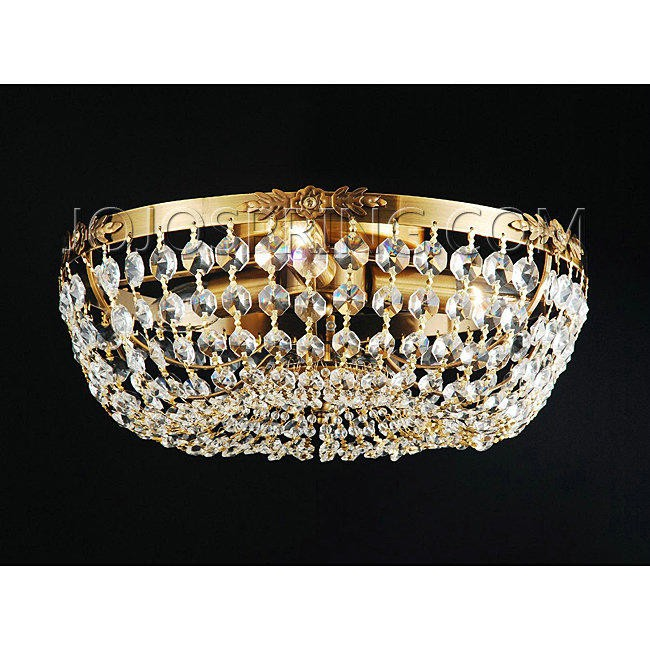 copper and crystal 3 light flush mount chandelier