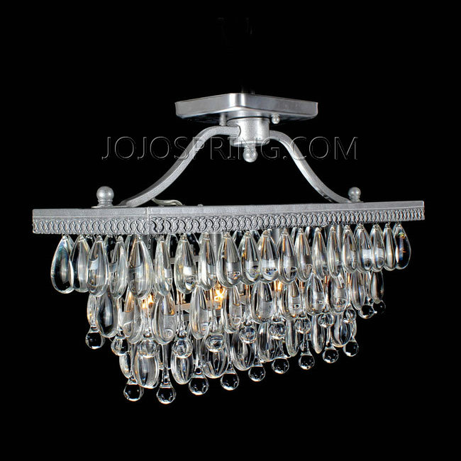 Crystal Glass Drop Silver Flush Mount Chandelier
