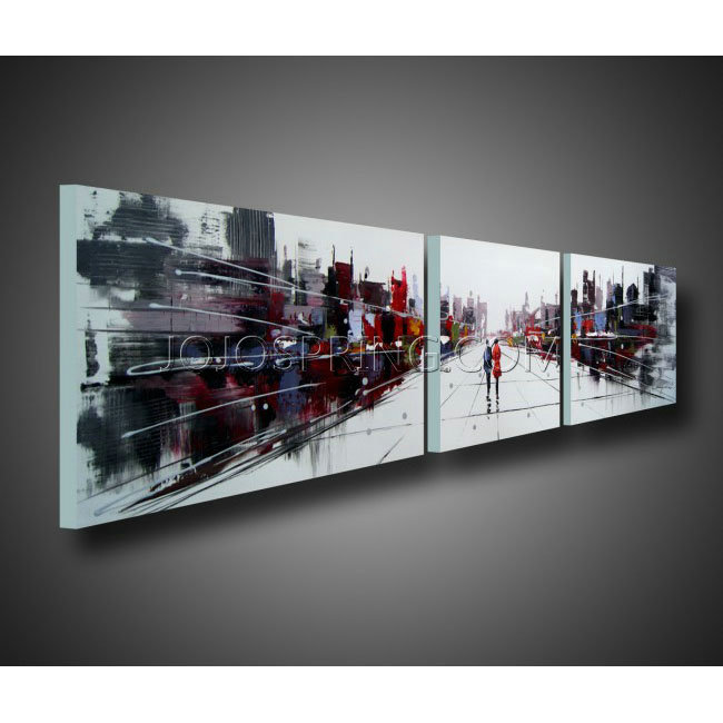 Dream city 3 piece gallery wrapped hand painted canvas art set