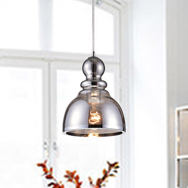 Alita Chrome Mini Pendant with Smoked Bubble Glass FD-0042-VSJ
