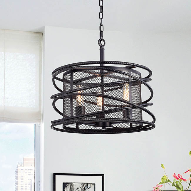 Honoria Antique Black Rebar Layer and Metal Mesh Drum Shade Pendant Chandelier FD-0109-HUW