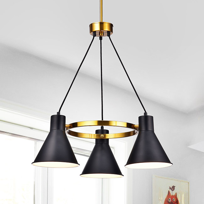 Sabina Metallic Goldtone Iron 3-light Chandelier with Black Iron Shades FD-0241-SLL