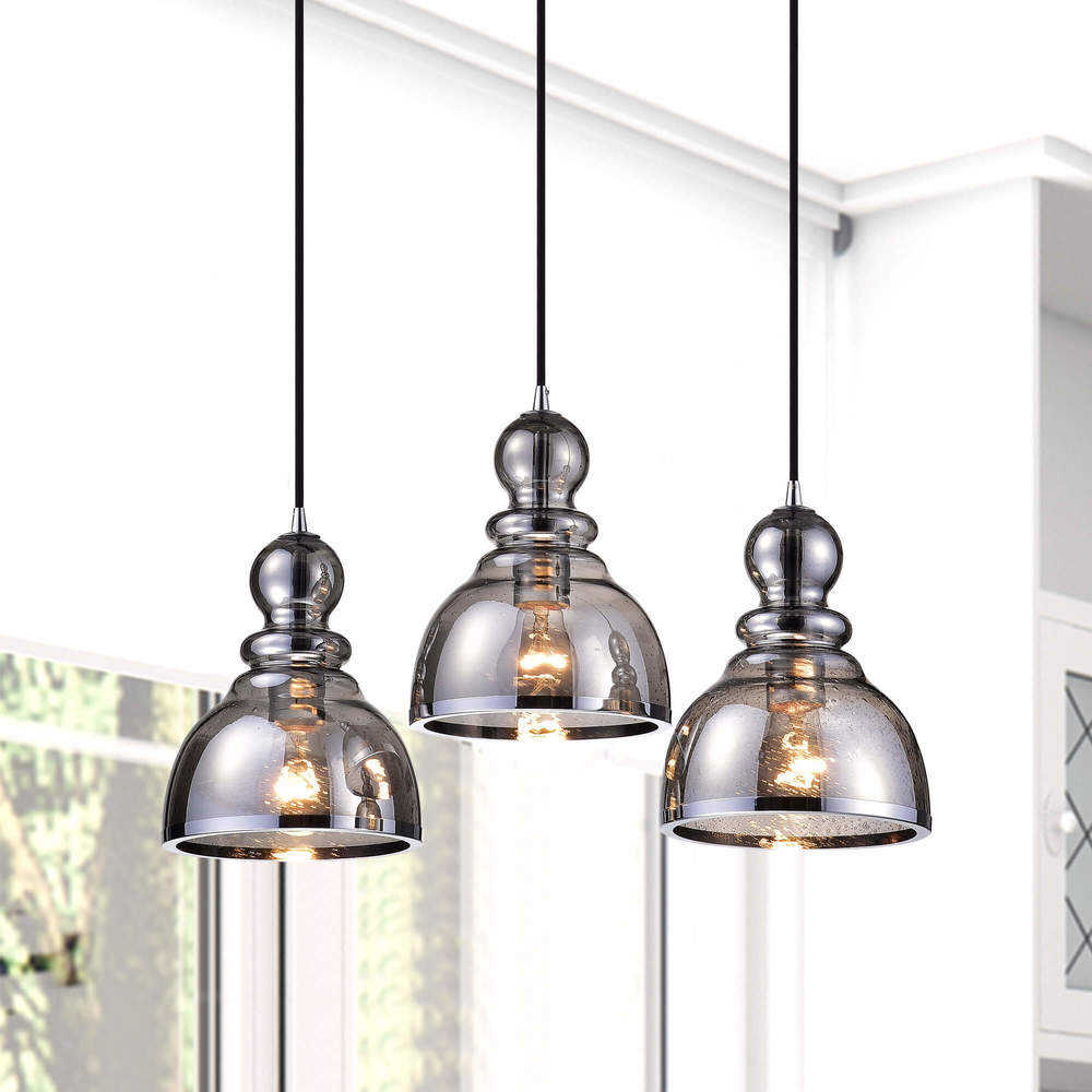 Alita Antique Black Glass 3-light Pendant Cluster FD-1103-XWX