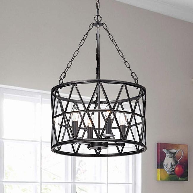 Eliana Antique Black Finish Iron Glass Shade 4-light Chandelier FD-1356-UGD