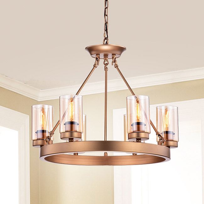 Viviana Bronze Amber Glass 6-light Cylinder Linear Chandelier FD-2357-KDS