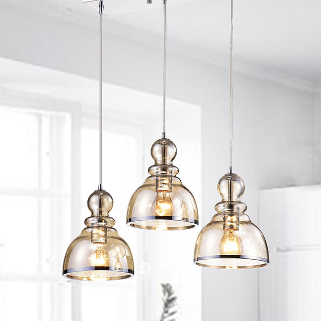 Alita Chrome Cognac Bubble Glass Cluster 3-light Pendant FD-3897-VBV