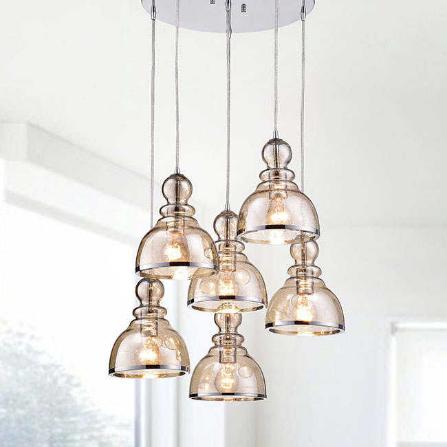 Alita Chrome Cognac Glass/Iron Bubble Cluster 6-light Pendant FD-3948-MXW
