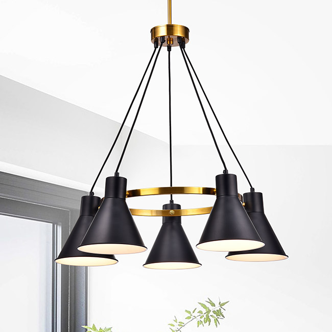 Sabina Metallic Gold 5-light Chandelier with Black Conical Iron Shade FD-4144-UBP