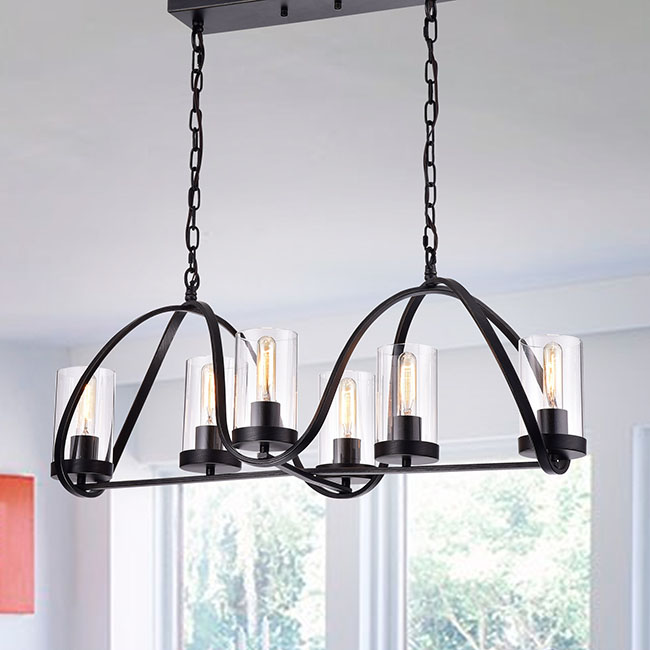Daniela Antique Black Iron 6-light Chandelier with Rectangular Base and Clear Glass Cylinder Shades FD-4171-PPZ