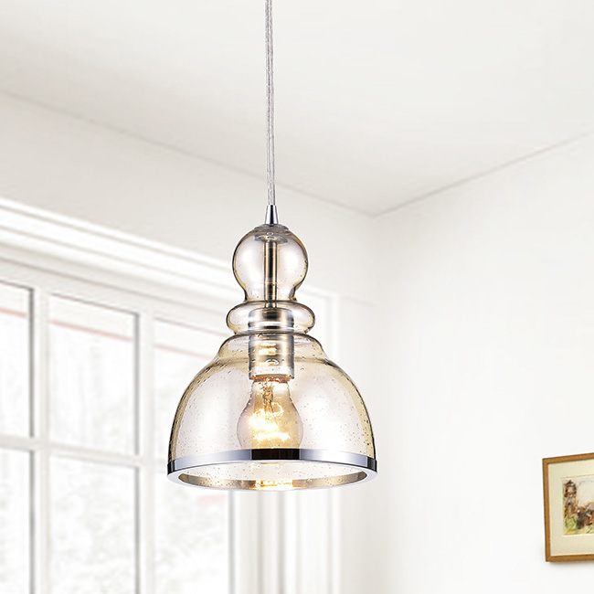 Alita Chrome Mini Pendant with Cognac Bubble Glass FD-4209-QJX