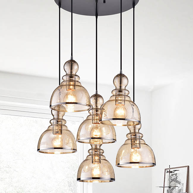 Alita Antique-black-finished Iron 60-watt 6-light Cluster Pendant Light With Cognac Bubble Glass Shades and Chrome Edges FD-4371-TXM