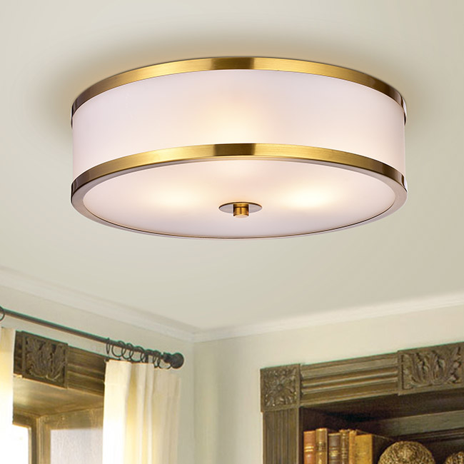 Blanca Metallic Gold with Glass Drum Shade 3-light Flush-mount Fixture FD-5291-NPF