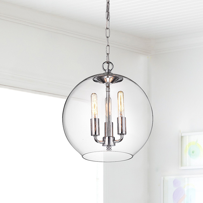Luna Chrome Finish 3-Light Clear Glass Globe Iron Pendant Chandelier FD-5735-DQP