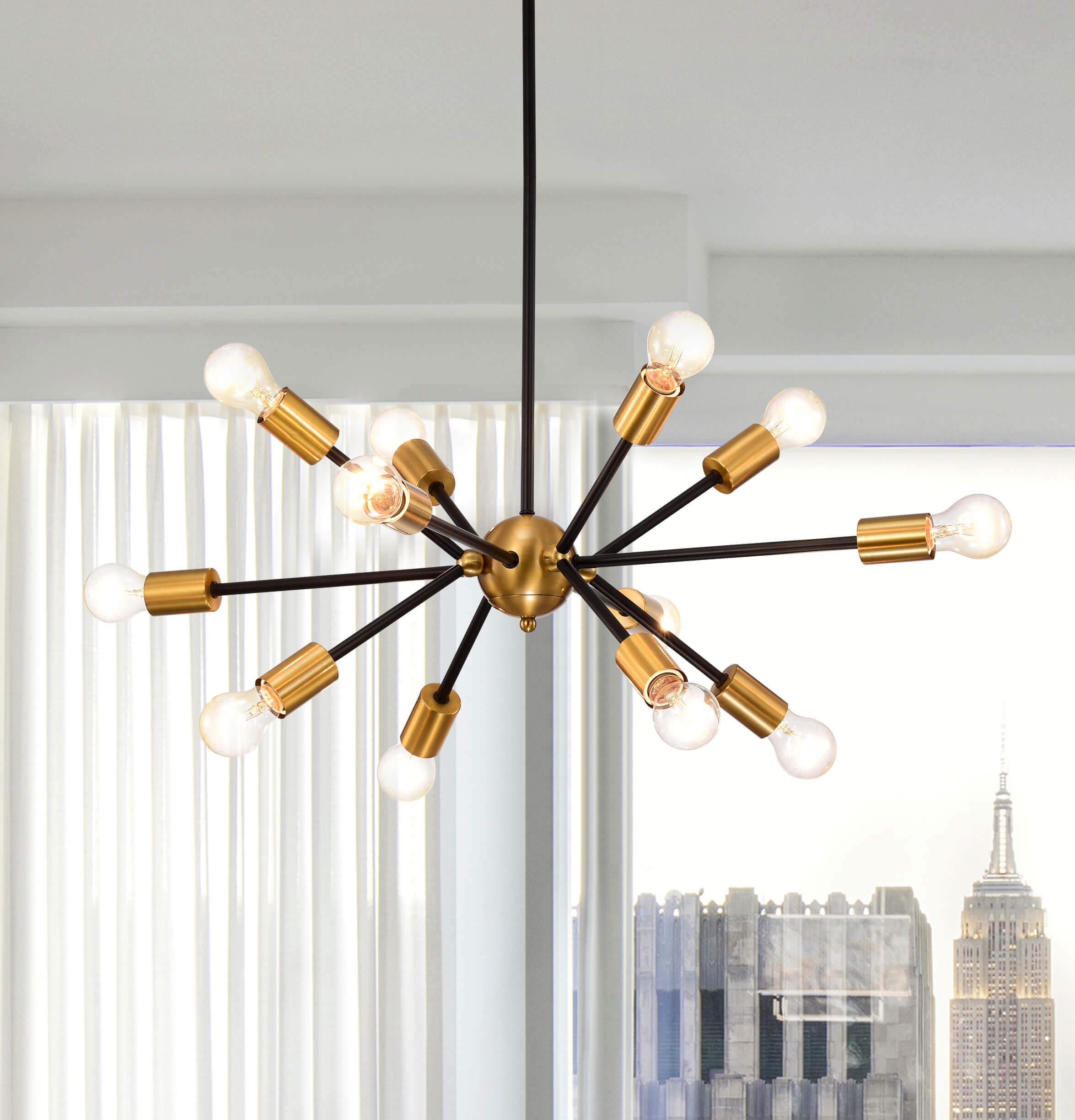 Lorena Sputnik Black Base Metallic Gold Finish Industrial Chandelier FD-5997-QVA