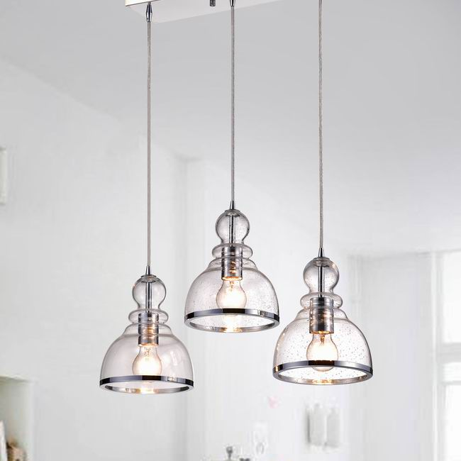 Alita Iron 3-light Clear Bubble Glass Cluster Pendant With Chrome Finish FD-6591-CBD