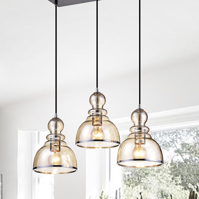 Alita Antique Black Cognac Bubble Glass and Chrome Edge 3-light Cluster Pendant FD-7274-ZGE