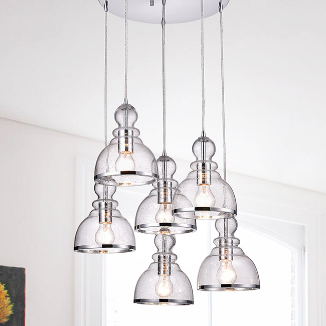 Alita Chrome Clear Bubble Glass 6-light Cluster Pendant FD-7952-AKL