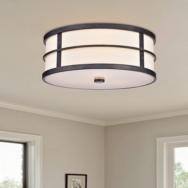 Blanca Contemporary Bronze 3-light Fabric Shade Flush Mount FD-8507-EVV