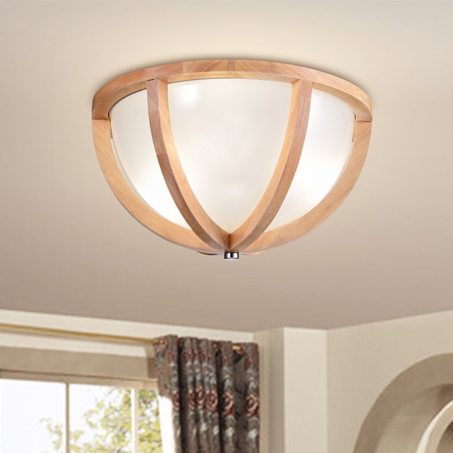 Paulina Natural Wood Frame Glass Shade Ceiling Flush Mount FD-9133-AAU