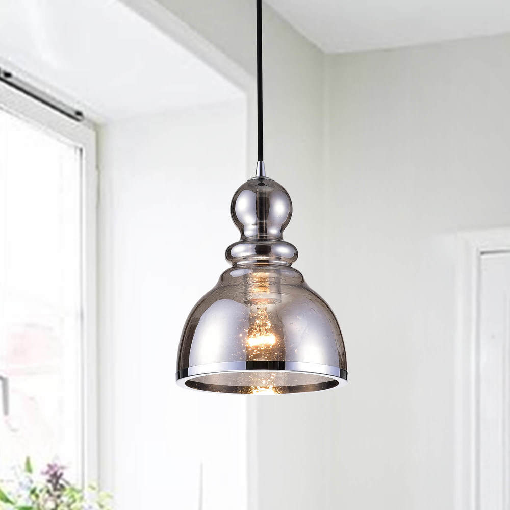 Alita Antique Black Pendant with Smoked Bubble Glass and Chrome Edge FD-9428-ZBV