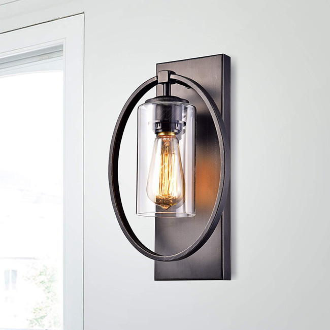 Anastasia Single Light Wall Sconce with Clear Glass Shade FD-9604-PEL