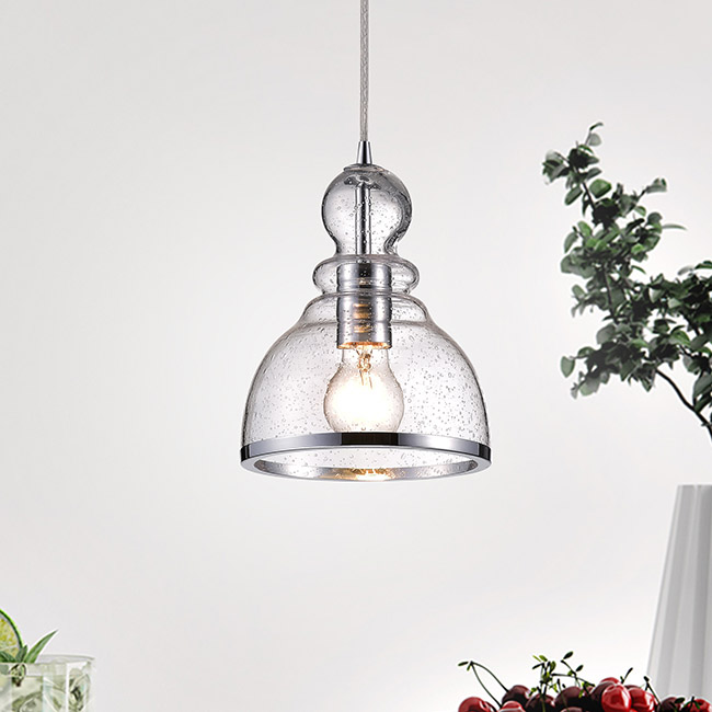 Alita Chrome Mini Pendant with Clear Bubble Glass FD-9667-DEP