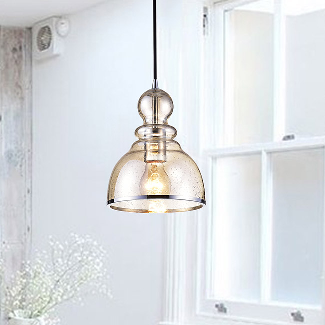 Alita Antique Black Mini Pendant with Cognac Bubble Glass and Chrome Edge FD-9901-UCK