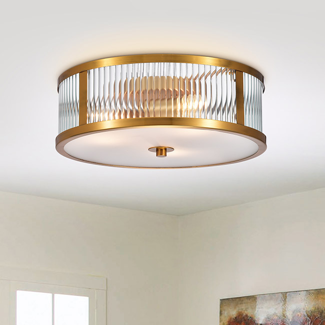 Blanca Metallic Goldtone 3-light Glass Flush-mount Fixture with Drum Shade FD-9967-HVX