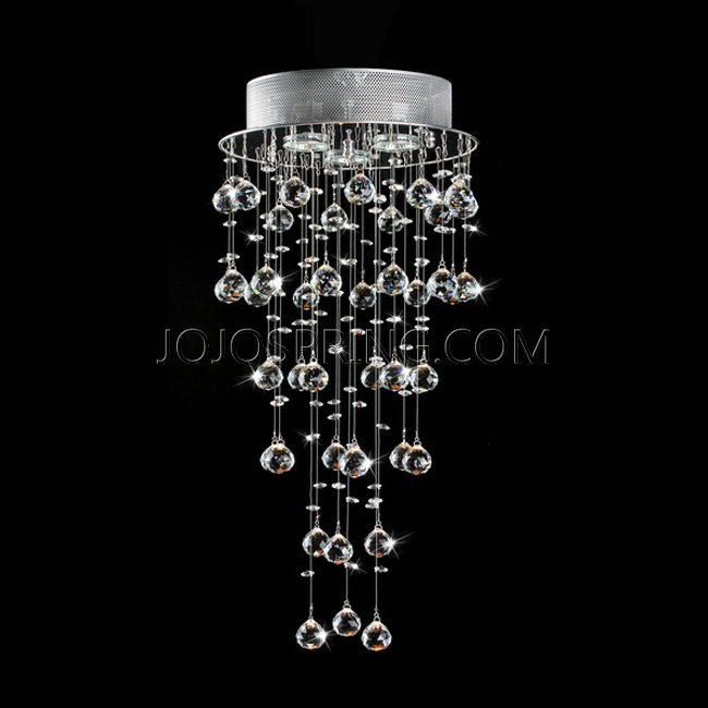 Floating Crystals and Chrome Flush-mount Chandelier - B877-BN-41