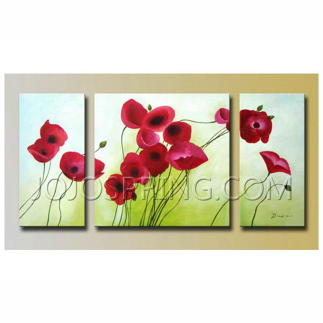 Flowers' Hand-painted Oil on Canvas (Set of 3)