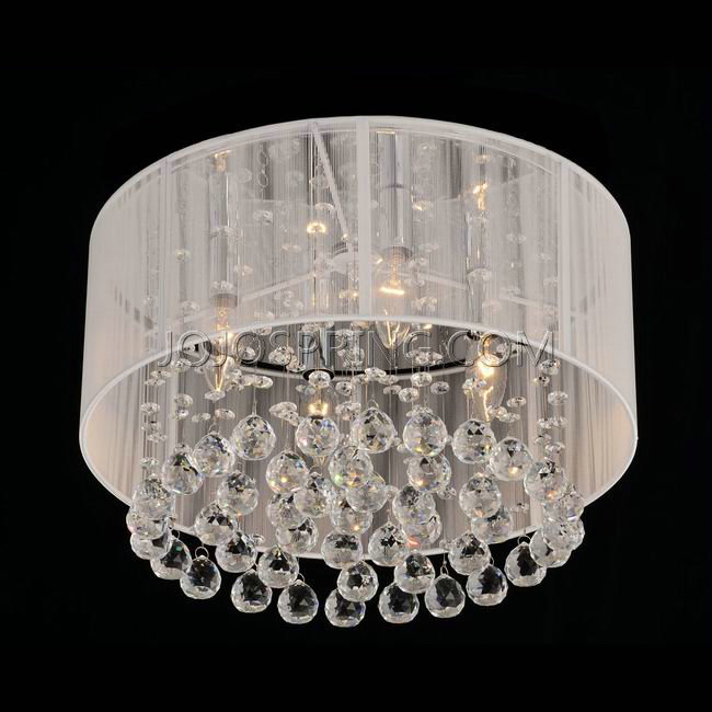 flushmount 4 light chrome and white crystal chandelier