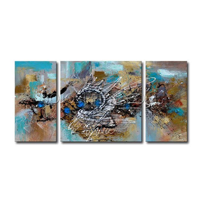 Hand-painted 'Abstract 491' 3-piece Gallery-wrapped Canvas Art S