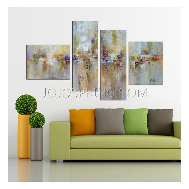 Hand-painted 'Abstract529' 4-piece Gallery-wrapped Canvas Art Se