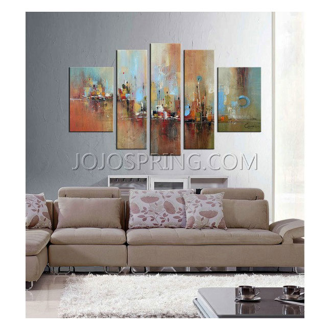 Hand-painted 'Abstract532' 5-piece Gallery-wrapped Canvas Art Se