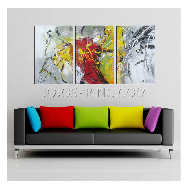 Hand-painted 'Abstract536' 3-piece Gallery-wrapped Canvas Art Se
