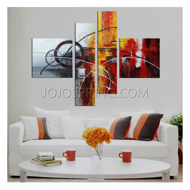 Hand-painted 'Abstract540' 4-piece Gallery-wrapped Canvas Art Se