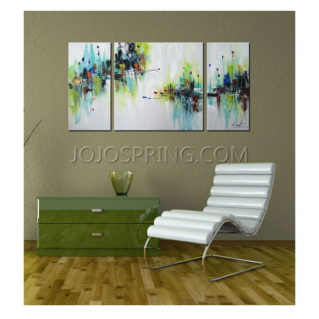 Hand-painted 'Abstract545' 3-piece Gallery-wrapped Canvas Art Se