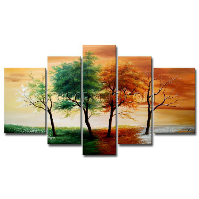 Hand-painted Four Seasons 5-piece Gallery-wrapped Canvas Art Set