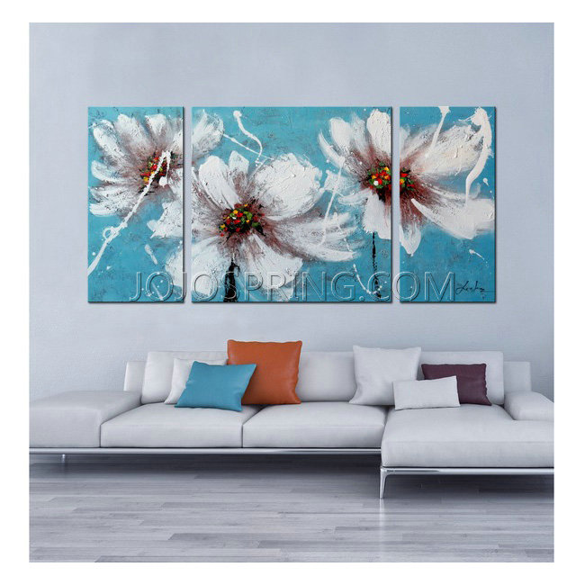 Hand-painted 'Heaven Blue' 3-piece Gallery-wrapped Canvas Art Se