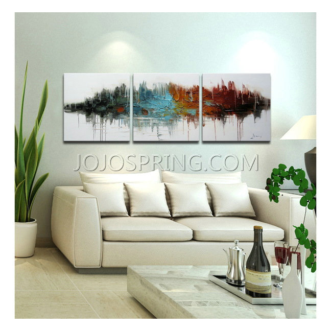 Hand-painted 'High Above the Valley' 3-piece Gallery-wrapped Art