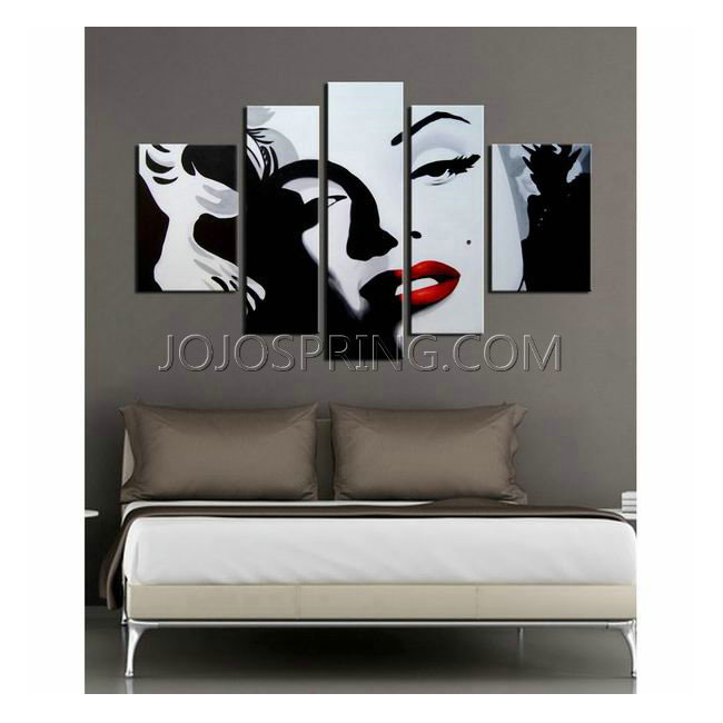 Hand-painted 'Marilyn Monroe' 5-piece Gallery-wrapped Canvas Art