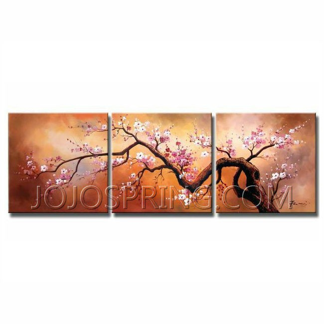Plum Blossom 310' 3pcs Gallery-wrapped Canvas Art Set