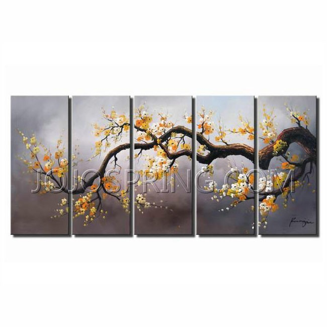 Hand-painted 'Plum Blossom 315' 5pcs Gallery-wrapped Art Set
