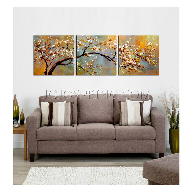 Hand-painted 'Plum bloosom591' 3-piece Gallery-wrapped Canvas Ar