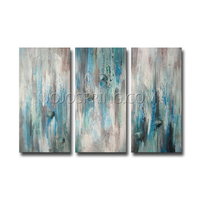 Hand-painted 'Sea of Clarity' 3-piece Gallery-wrapped Canvas Art