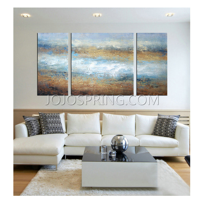 Hand-painted 'The Tide of Colors' 3-piece Gallery-wrapped Art Se